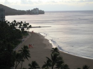 Waikiki Beach shortly after sunrise ©2010, Mary Jo Manzanares