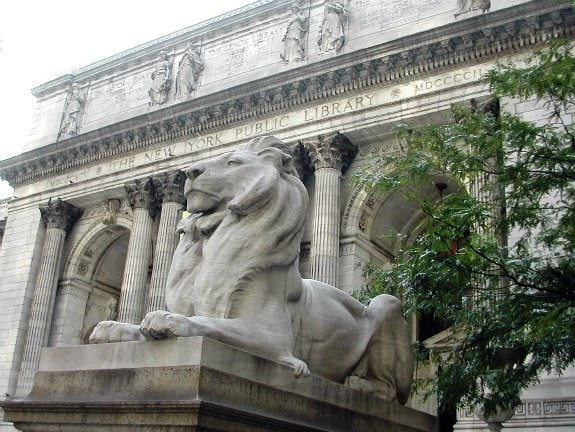 Lion guarding the New York Public Library