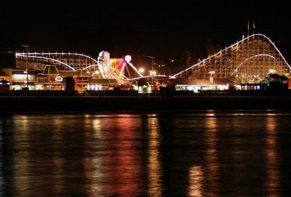 Santa Cruz boardwalk at night