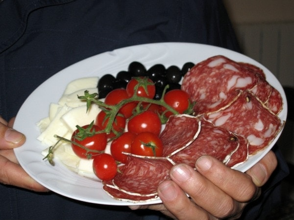 antipasto plate from farmers market