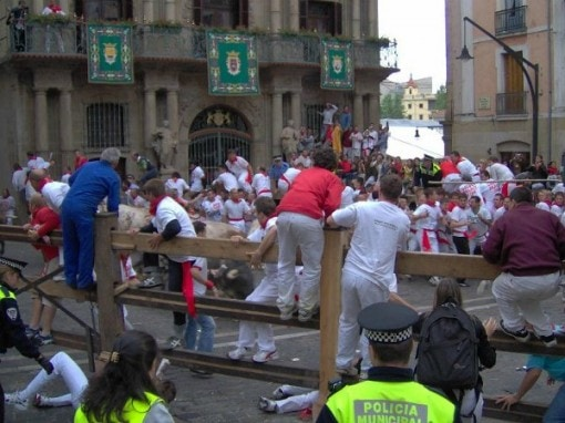 Running of Bulls in Pamplona Spain