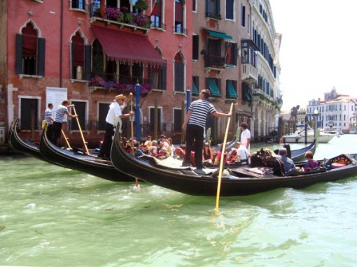 Gondolas on the Grand Canal, Venice Italy