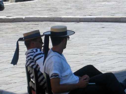Gondoliers on break, Venice Italy