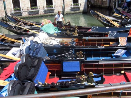 Interior of gondolas in Venice Italy