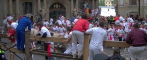 Running of Bulls in Pamplona Spain