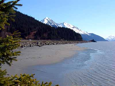 A beach along the Seward Highway in Alaska