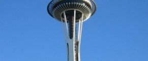 space needle, blue sky, Seattle summer