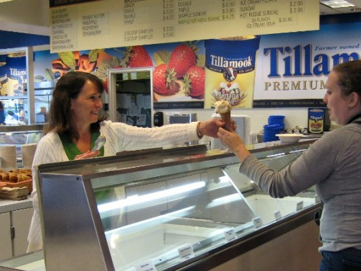 Ice cream tasting at Tillamook Cheese Factory