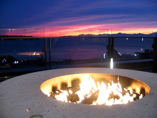 Sunset around the fire pit at Four Seasons Seattle