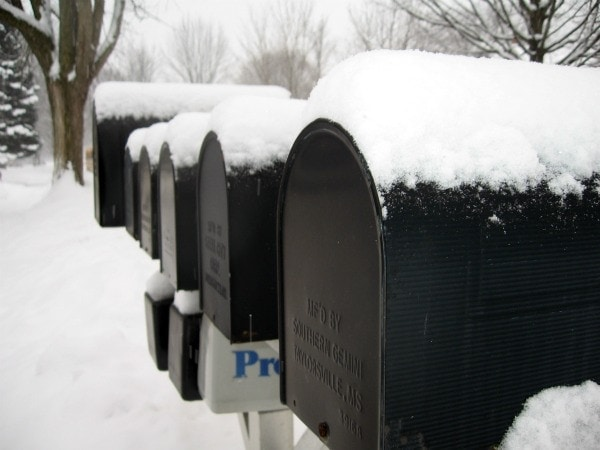 mail boxes in snow