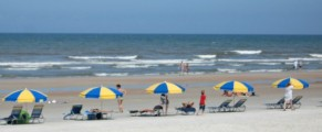 sunbathers on Daytona Beach