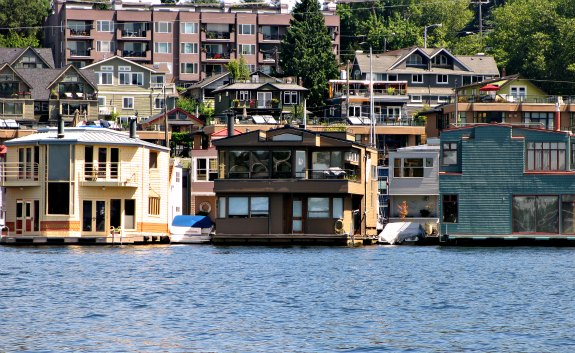 Postcard floating homes on Seattle Lake Union