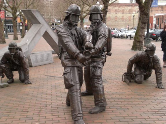 Fallen Fire Fighters memorial in Occidental Park in Seattle's Pioneer Square.