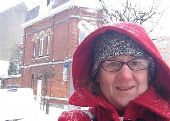 walking in snow in Brussels