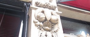 Gargoyles on pillars outside the Malmaison Belfast