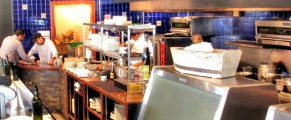 The open kitchen at Volos restaurant in Toronto