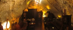 Jeff's Cellar provides dramatic lighting and setting for a glass of wine