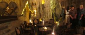 Tables inside Jeff's Cellar, the wine bar