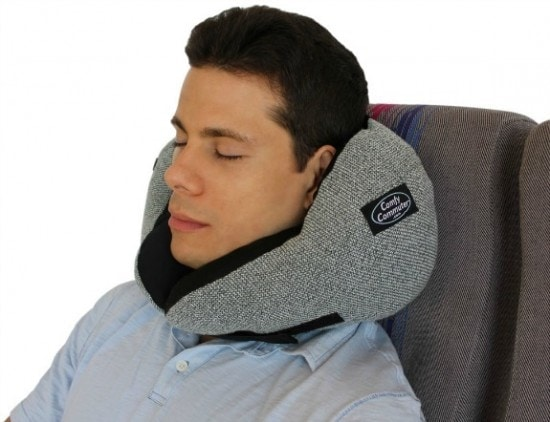 comfy commuter travel pillow in use on airplane