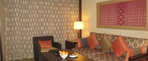 Sitting area in my premier room in the Rasa Wing