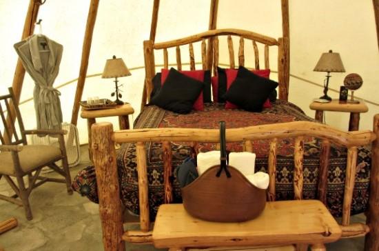 interior lodge like feel of teepee