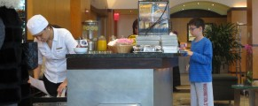 The breakfast buffet in the lobby of Hotel Giraffe