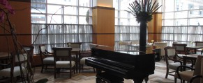 During evening happy hour, there is a piano player providing enjoyable background music