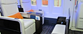 The interior seating area on the Beoing 757 Four Seasons jet is spacious with lots of leg room