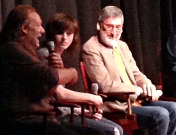 Greg Nicotero, Chandler Riggs (both of The Walking Dead) and Director John Landis