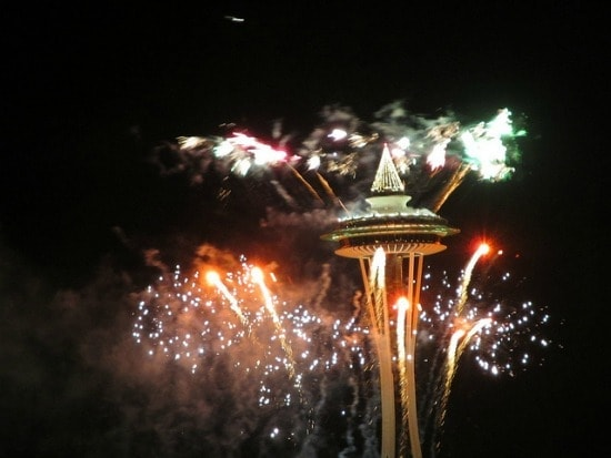 fireworks at Seattle space needle on new years eve