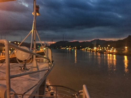 sunset through the panama canal
