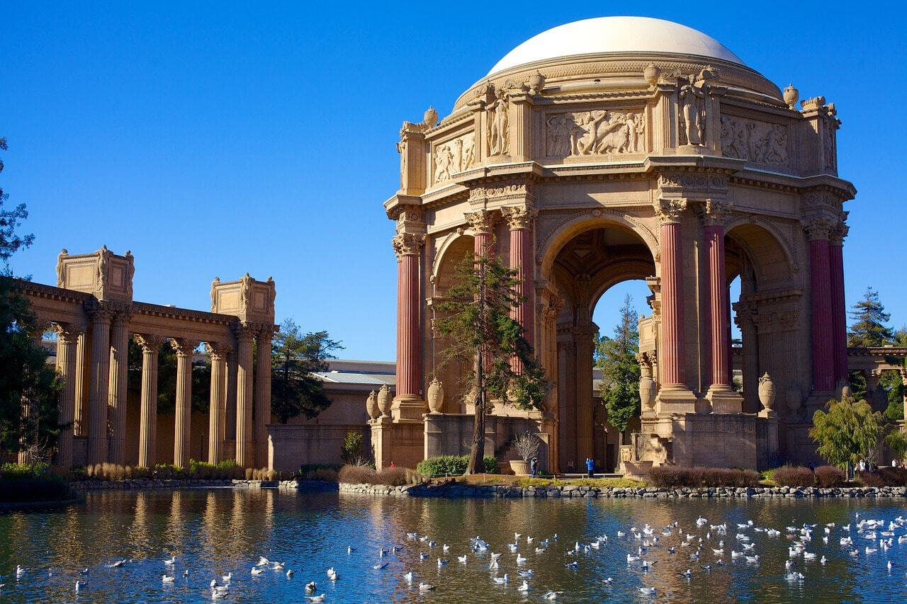 visiting the Palace of Fine Arts, San Francisco