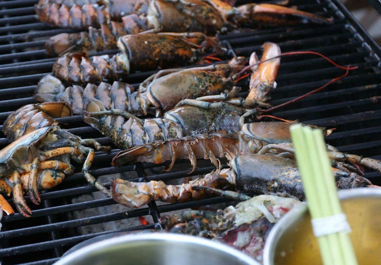 lobster on the grill for a great barbecue in Beijing
