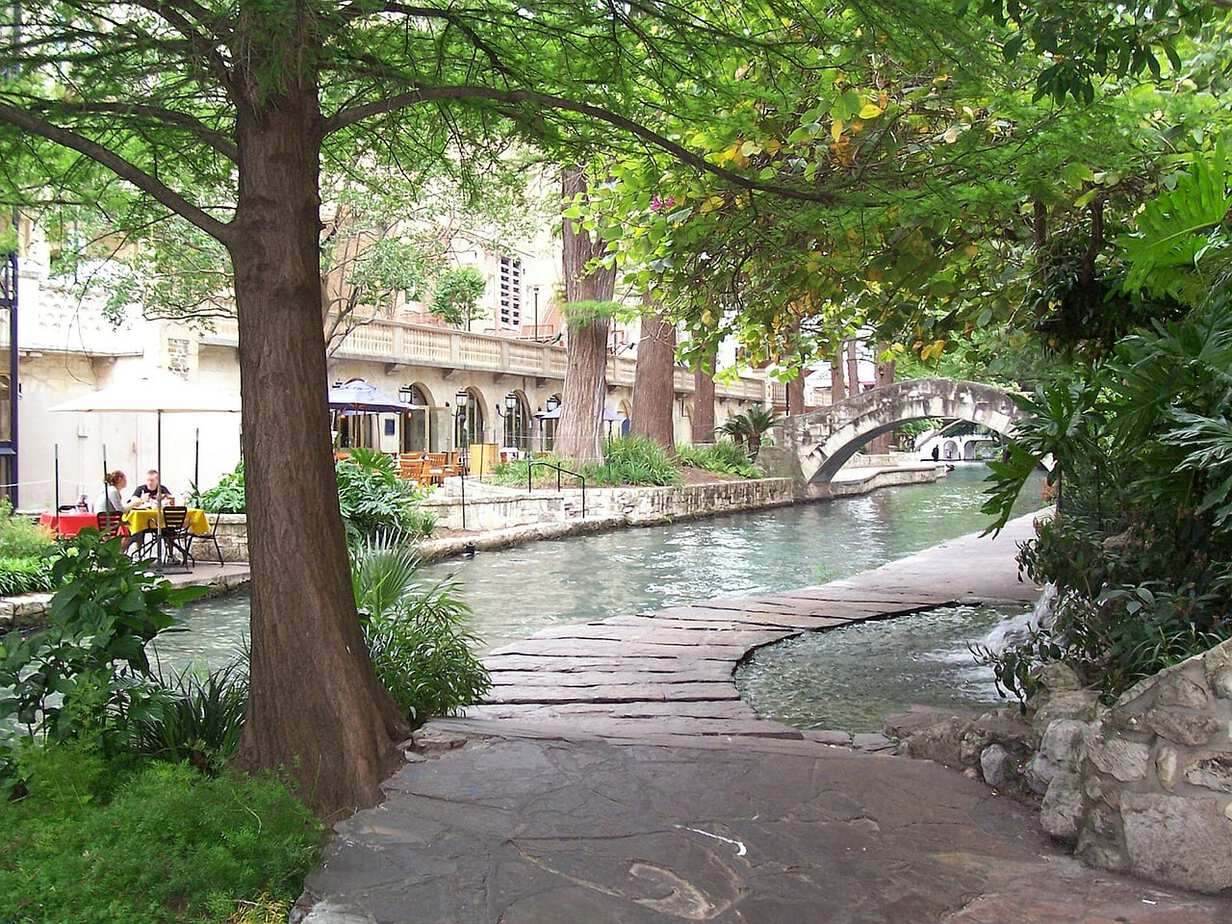San Antonio river walk near the alamo