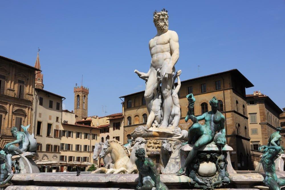 statue of Neptune at the Piazza Della Signoria,in front of Palazzo Vecchio,in Florence,Italy
