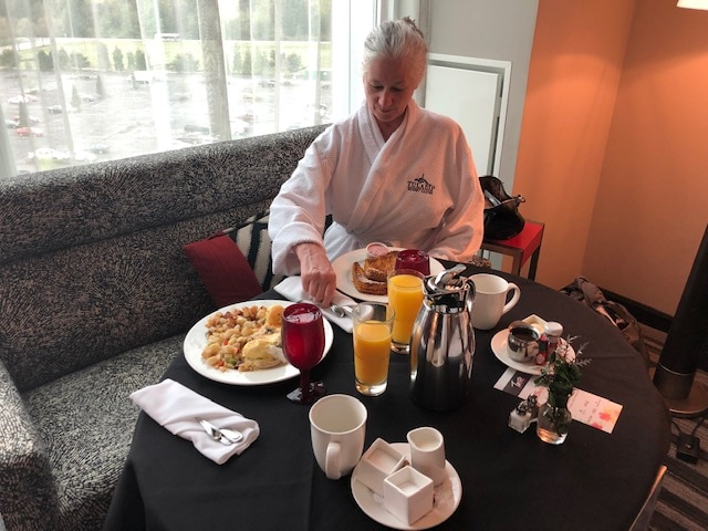 Enjoying early morning room service at Tulalip Resort and Casino in Washington State.