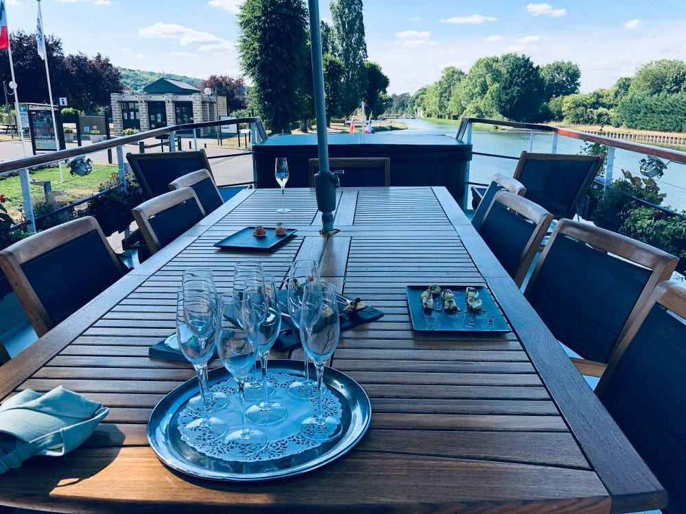 Outdoor casual on on luxury French barge cruise with European Waterways