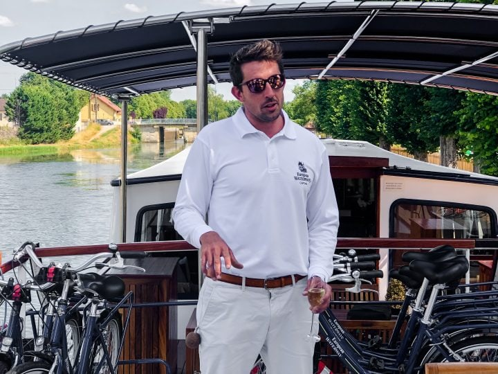 Our captain on La Belle Epoque, Luke, welcomes us onboard for our French canal barge cruise.