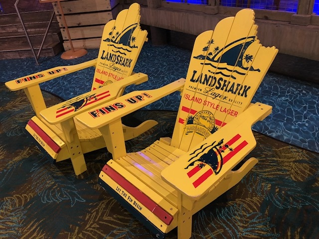 Landshark chairs at River Spirit/Margaritaville in Tulsa, Oklahoma