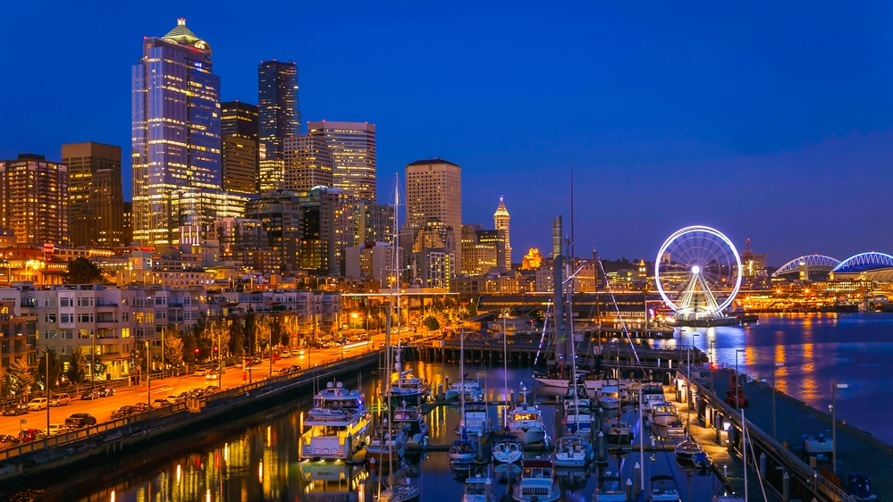 Seattle waterfront after sunset.