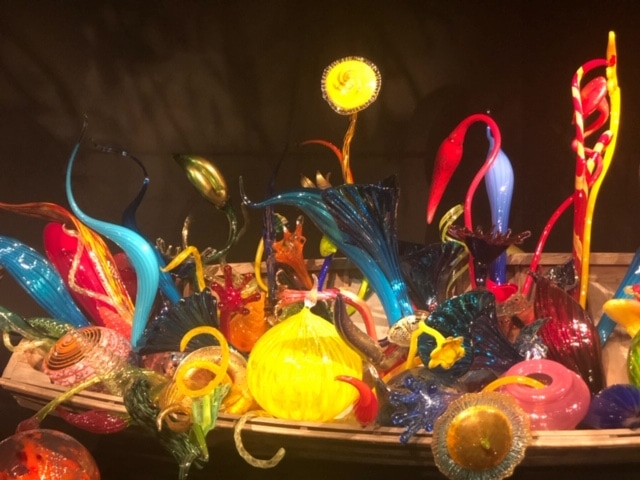 Beautiful glass art on display at the Chihuly Museum near the Space Needle in Seattle.