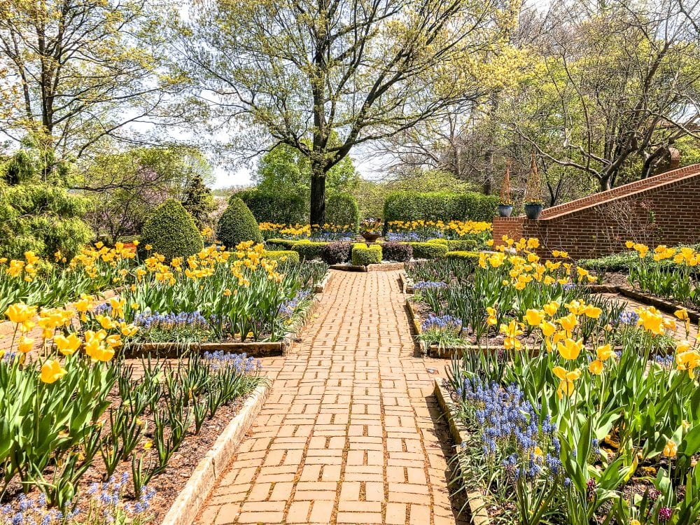 a flowered path at Kingwood Center Gardens in Ohio