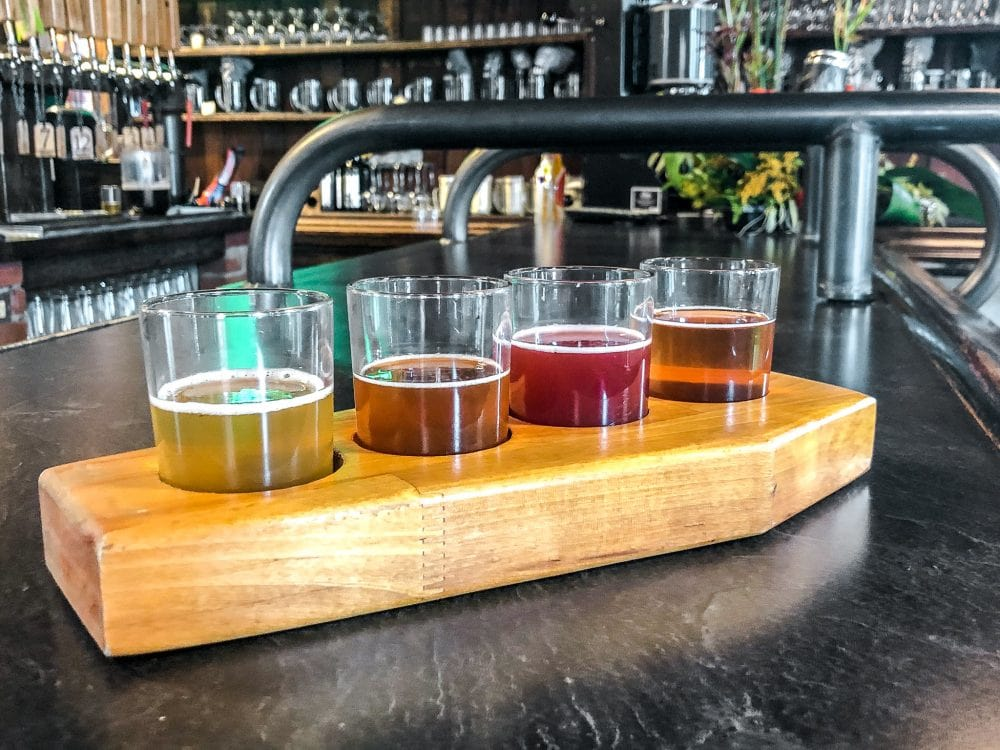 a beer tasting sampler at phoenix brewing company in mansfield, ohio