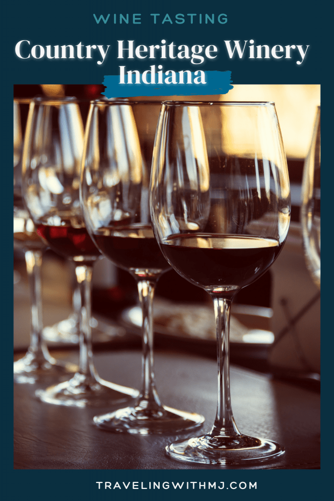 pinterest pin of red wine available for tasting at country heritage winery in indiana