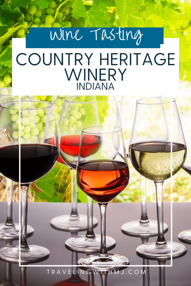 pinterest pin of wines lined up for tasting at country heritage winery in indiana