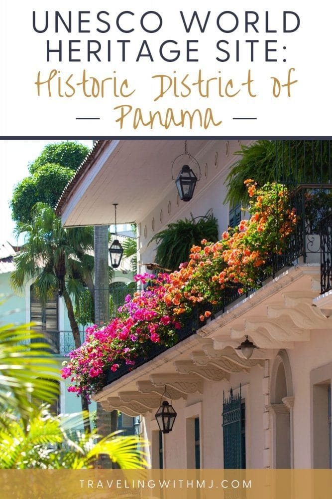 pin of colonial architecture a blooming bougainvilla in old town panama
