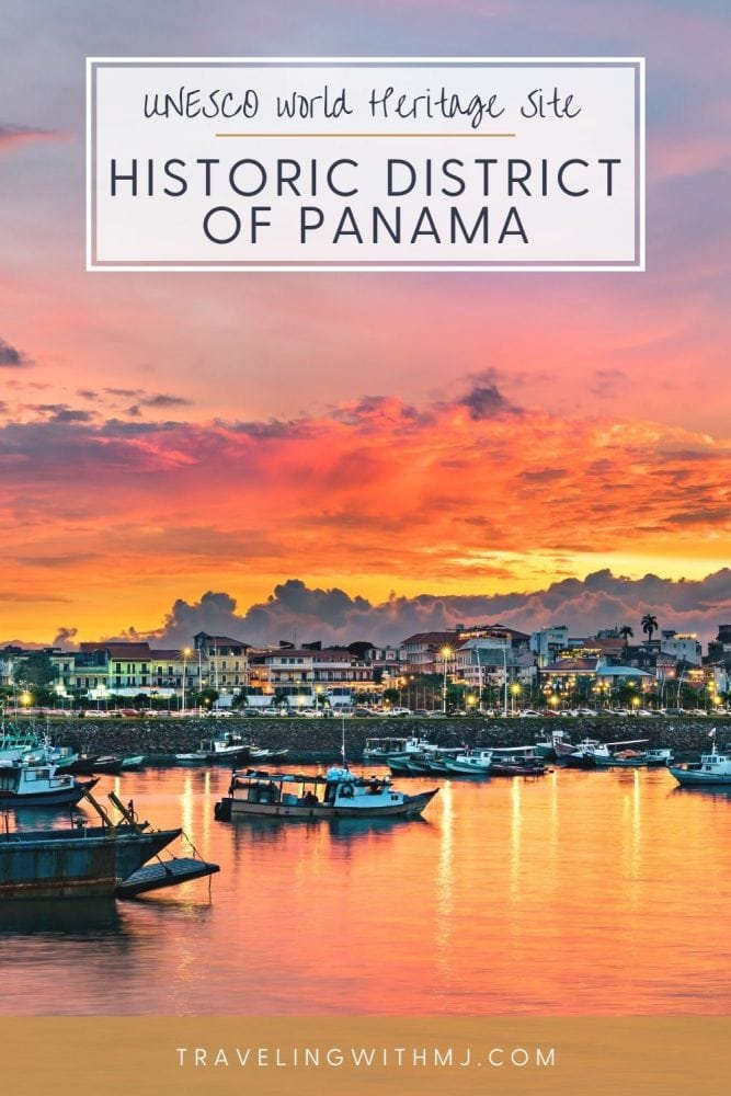 pin of Panama's historic old town at sunset