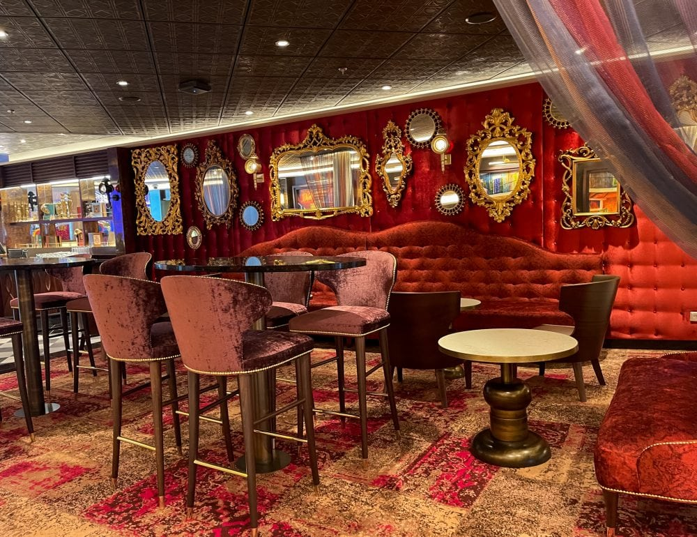 red retro swank bar on a cruise ship