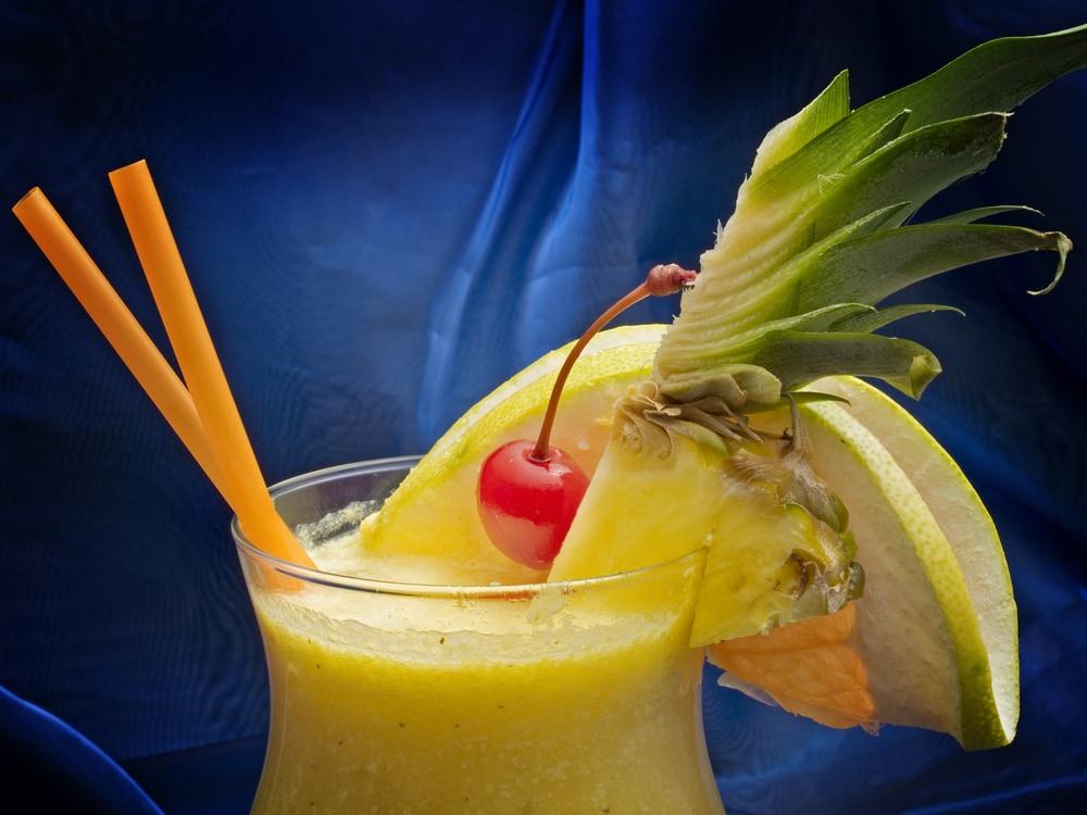 A tropical pina colada drink