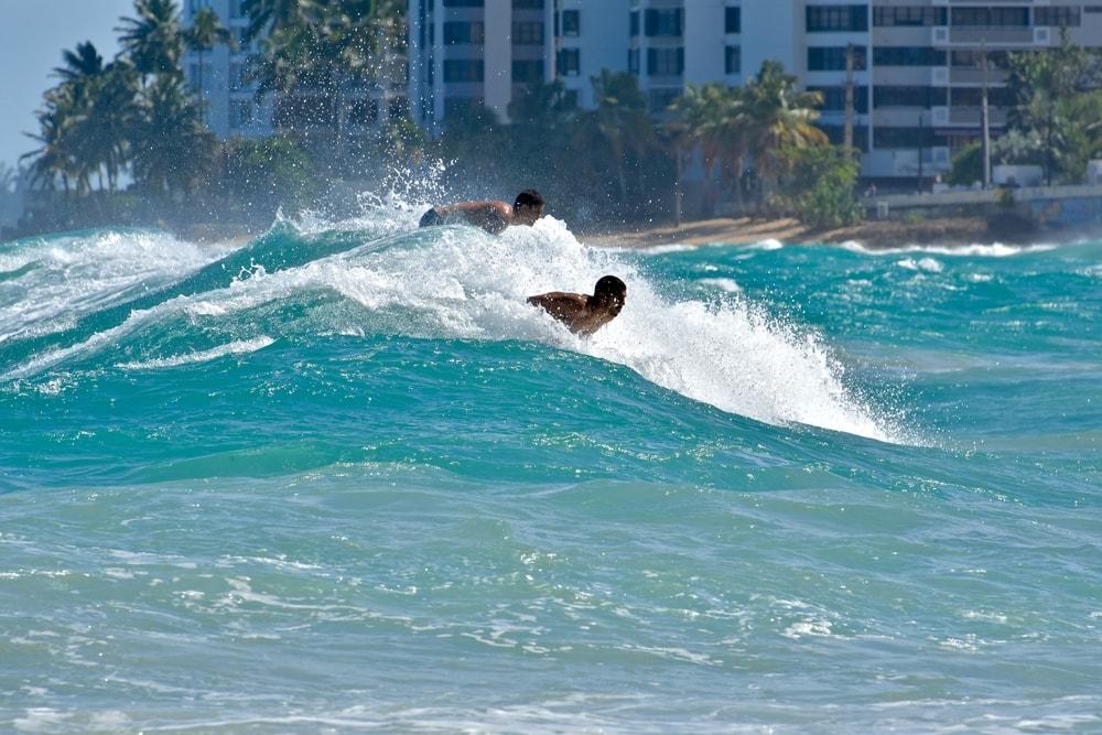 Surfing at Condodo Beach, Puerto Rico